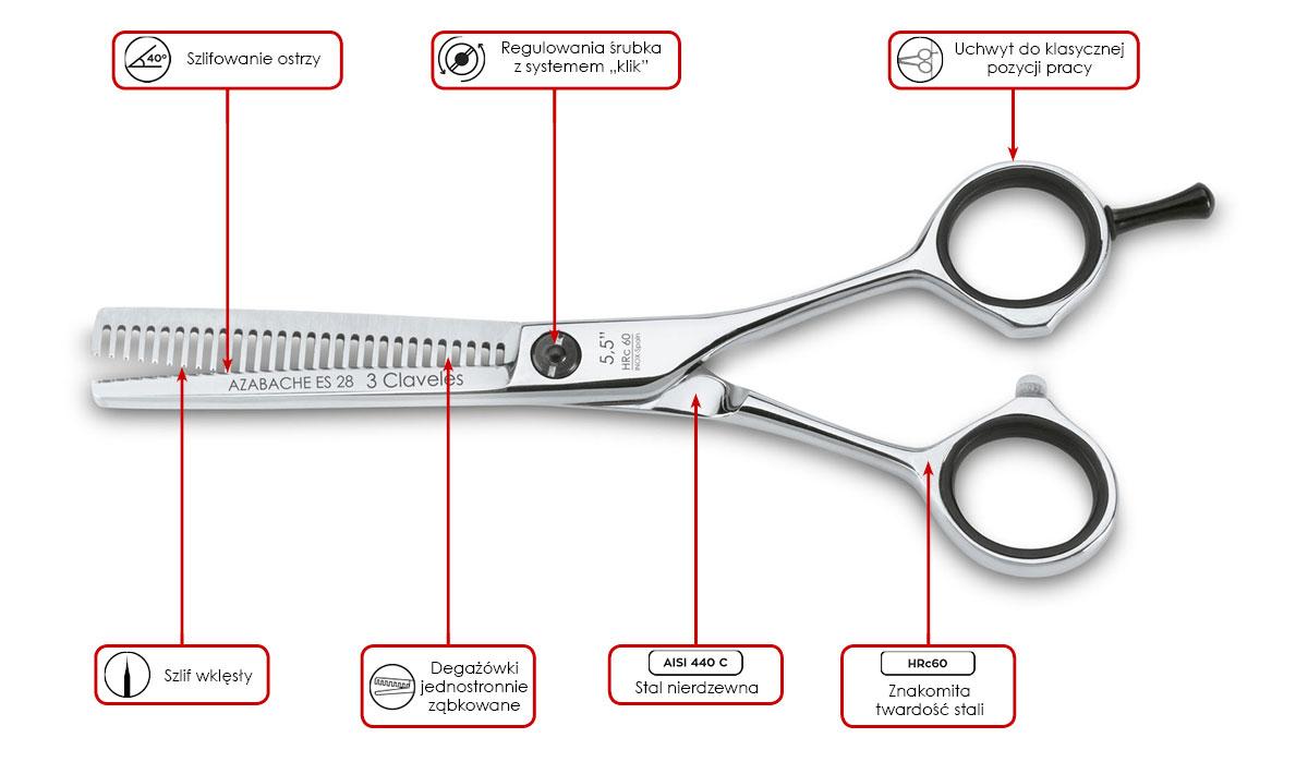 Degażówki fryzjerskie 3 Claveles Concave Azabache ES 28