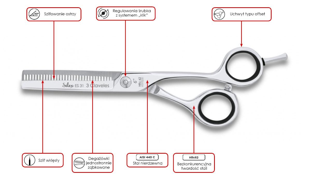 degażówki fryzjerskie 3 Claveles Concave Silex ES 31