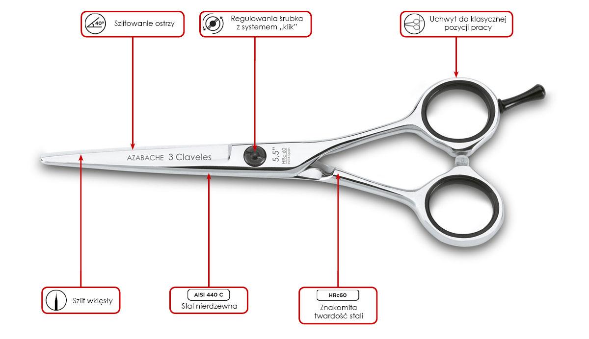 nożyczki fryzjerskie 3 Claveles Concave Azabache