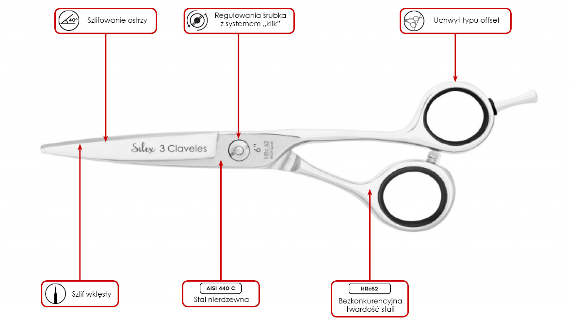 nożyczki fryzjerskie 3 Claveles Concave Silex