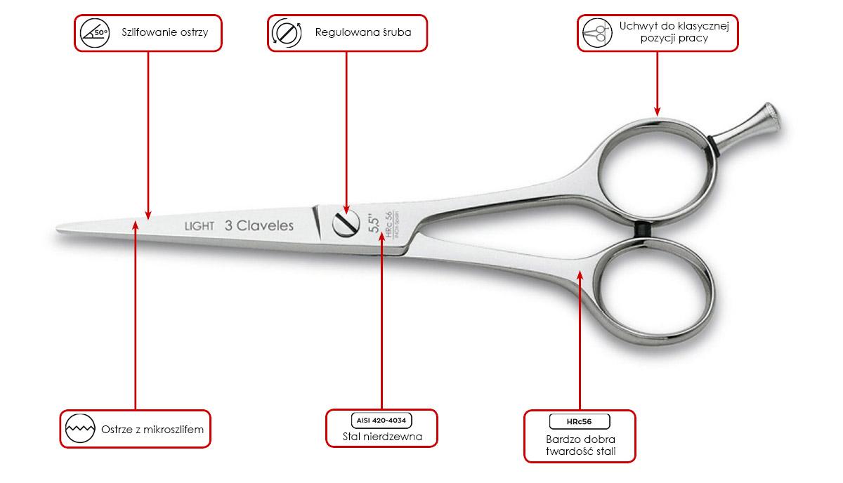 nożyczki fryzjerskie 3 Claveles Micro ST Light