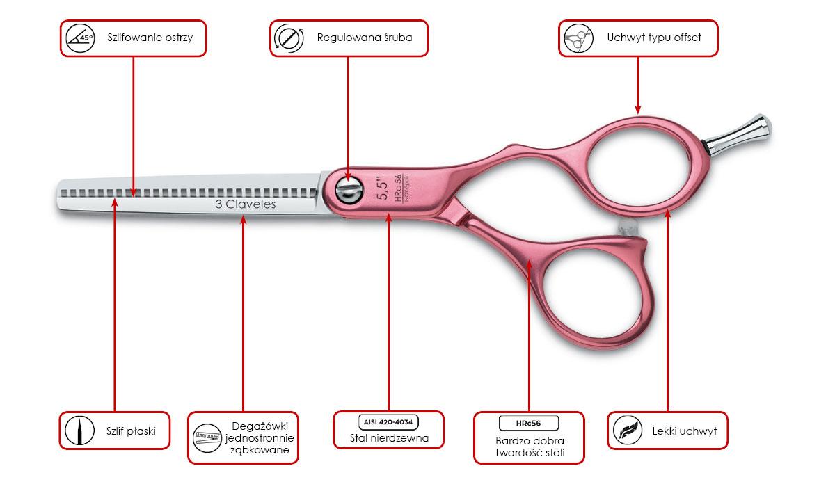 Degażówki fryzjerskie 3 Claveles Duraluminiom Pink ES 28