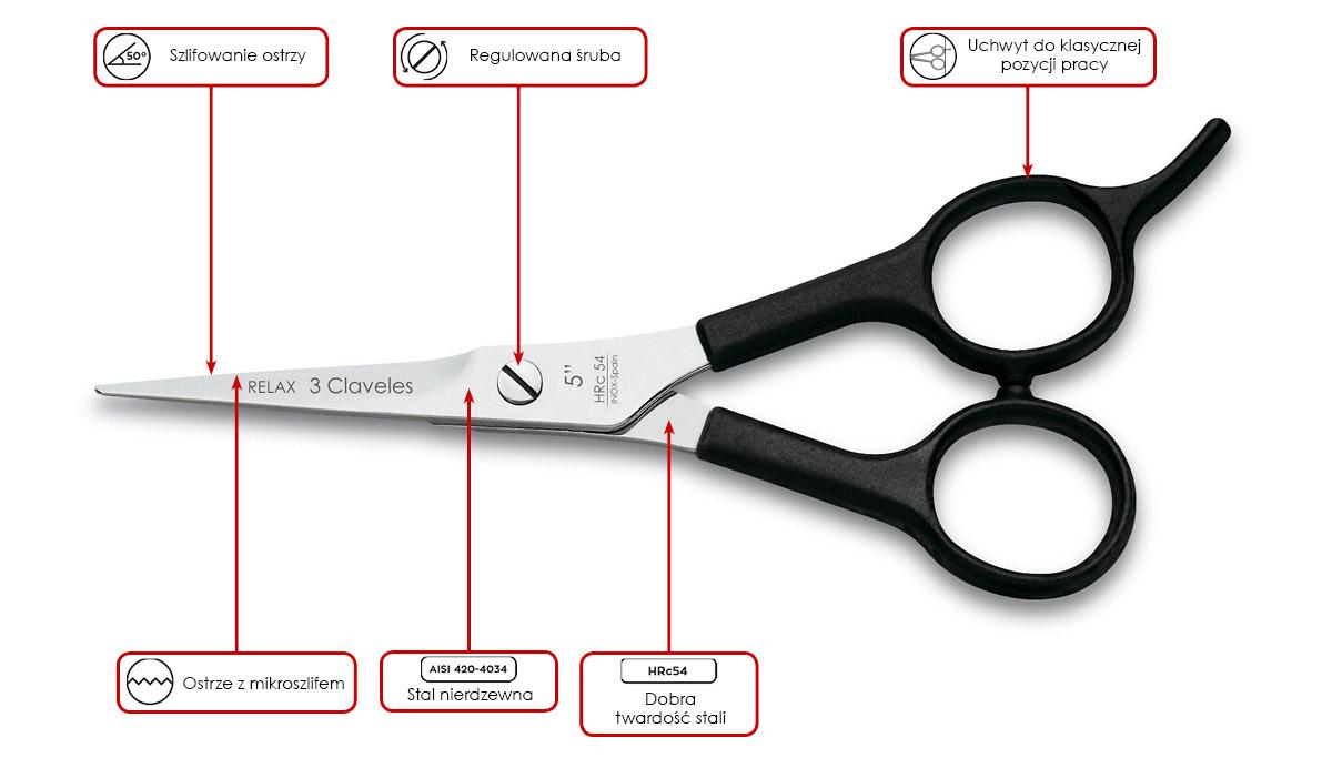 nożyczki fryzjerskie 3 Claveles Relax