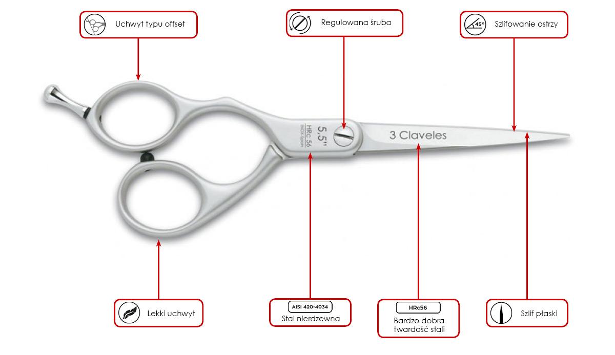 nożyczki fryzjerskie 3 Claveles duraluminium Left